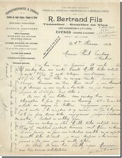 Carta - R. Bertrand Hijo Fabricante de vinos - Corredor en Vins a Esvres 1904