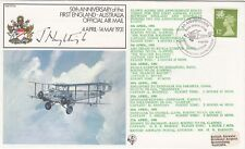 FF28bC 50th Anniv lst England Australia air mail Signed Nightingale 6 Backstamps