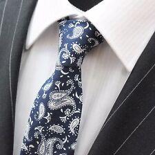 Corbata Corbata Delgada Azul Oscuro con Paisley blanco de algodón de calidad T6157