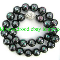 Natural 8/10/12mm Round Rainbow Black South Sea Shell Pearl Gemstone Necklace