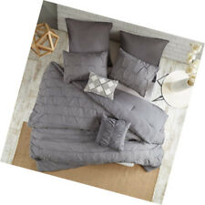 Embroidered Pillows All Season Shabby Chic Luxe Bedding Set Urban Habitat Brooklyn 5 Piece 100/% Cotton Jacquard Comforter Twin//Twin XL Charcoal Matching Sham Tufts Accent 68x92