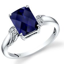 14K White Gold Created Sapphire Diamond Ring Radiant Cut 3 Carats Size 7
