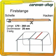 Dachhakenstange 25 mm 170-260 cm Firststange Zeltstangen Vorzelt Wohnwagen Zelt