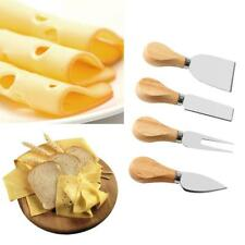 4Pcs Stainless Steel Oak Wood Handle Cheese Butter Blade Fork Set Kitchenware JJ