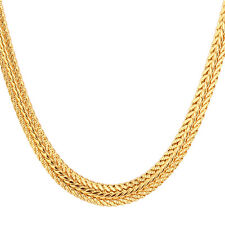 18K Gold Plated 6MM Chunky Foxtail Link Chain Necklace Jewelry for Men 22 Inch