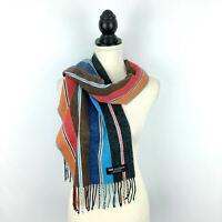 """SCOTTISH women's 100% cashmere scarf - bright multicolor striped fringe 12 x 71"""""""