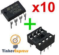 10pcs UA741CN w/Socket OpAmp UA741 LM741 IC ST DIP-8 Operational Amplifier - USA