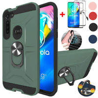For Motorola Moto G8 Power Phone Case With Ring Holder Stand Screen Protector