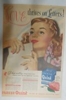 Parker Pen Ad:  Quink Ink Love thrives on Letters from 1946 Size: 11 x 15 inches