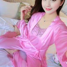Sexy Women Night Dress Silk Satin Pajama Sleepwear Long Robes Nightwear Gown Set