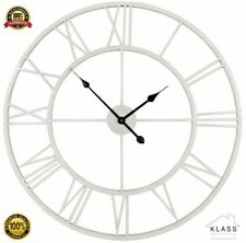 LARGE OUTDOOR GARDEN WALL CLOCK BIG ROMAN NUMERALS GIANT OPEN FACE METAL 60 cm