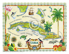 "19.5 x 25"" Cuba Vintage Look Map Poster Printed on Frenchtone Parchment Paper"