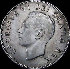 1949 XF+ (AU-)  Canada Silver 50 Cents (Fifty, Half) - KM# 45 - JG