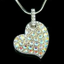 w Swarovski Crystal ~AB Sparkling Love Heart Valentine Cute Pendant Necklace New