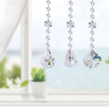Set 3 Clear Crystal Snowbeads Suncatcher Prism Drop Pendants Decor for Car Home