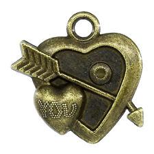 6 Pcs Charm Pendants Arrow Through You Heart Antique Bronze 21x21mm LC2331