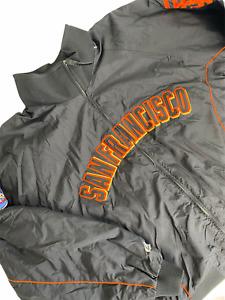SAN FRANCISCO GIANTS Jacket XL Baseball World Series 2002 Anaheim Puffer Black