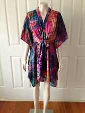 NEW Silk Tie Dye Kaftan Kimono Shirt Festival Beach Resort Wear Size XS - M