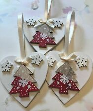 3 X Nordic Christmas Decorations Shabby Chic Wood Heart Tree Bows Cream Red