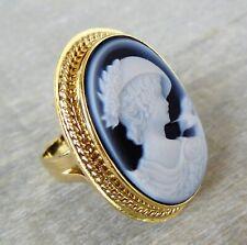 HANDARBEIT Achatgemme Kamee Ring von Del Gatto aus 18 K / 750 Gold (geprüft)