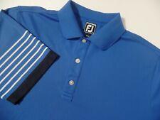 FootJoy Fj White Blue Striped Stretch Mesh Golf Polo Shirt Large Mens