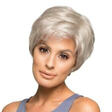 Short Human Hair Wig Silver Gray Layered Hairpieces Women Party Daily Wear