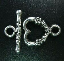 15 Sets Tibetan Silver Floral Heart Toggle Clasp T1086