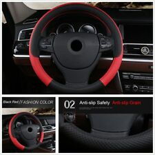 Red+Black PU Leather 38cm Car Steering Wheel Sleeve Cover Anti-slip Accessories