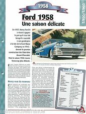 Ford Fairlane 500 V8 1958 USA Car Auto Retro FICHE FRANCE