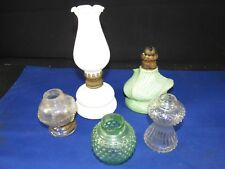 5 Vintage Mini Lantern Parts Oil/Kerosene Lamps,Light Base-Shade-Burner  AS-IS