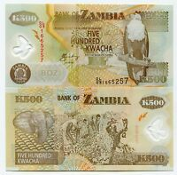 Zambia 500 Kwacha Uncirculated Banknote 2008 Polymer X 10 Note Lot