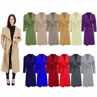 Women Ladies Italian Long Duster Jacket French Belted Trench Waterfall Coat 8-16