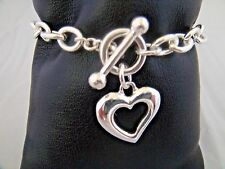 Heart bracelet silver link chain toggle closure 7 inches open heart