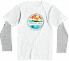 Quiksilver, Boys' Filled In Layered-Look T-Shirt, White, Size L, MSRP $28