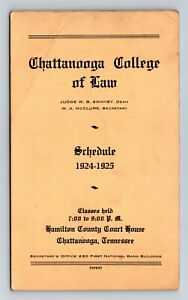 TN Tennessee Chattanooga College of Law 1924-25 Freshman Class Schedule X23