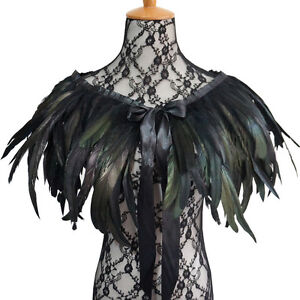 Victorian Natural Rooster Feather Shrug Shawl Shoulder Cape Choker Collar Tie