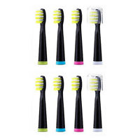 Fairywill 8 × Sonic Toothbrush Replacement Heads Black Firm Bristle Brush Heads