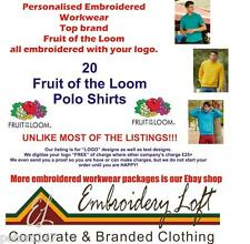 20 Fruit of the Loom personalizzata Ricamato Polo Workwear