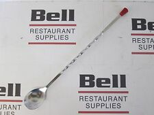 """*NEW* UPDATE BSP-11 STAINLESS STEEL 11"""" BAR SPOON - RED TIP, SPIRAL HANDLE"""