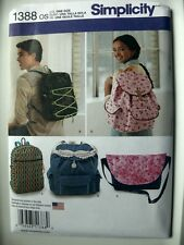 Simplicity Pattern 1388 Backpacks and Messenger Bag totes school books bookbag