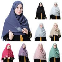 Muslim Women Chiffon Scarf Head Wrap Islamic Beaded Hijab Shawl Amira Headscarf