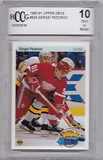 1990-91 UPPER DECK NO. 525 SERGEI FEDEROV YOUNG GUNS ROOKIE RED WINGS BCCG 10