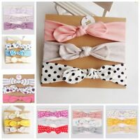 3PCs Set Handmade Kid Baby Toddler Girls Cotton Bow Headband Headwrap