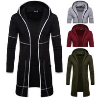 Men Slim Fit Hooded Trench Coat Jacket Cardigan Top Long Sleeve Outwear Overcoat