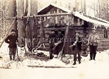 ANTIQUE 8X10 EAU CLAIRE WISCONSIN DEER HUNTING CAMP PHOTOGRAPH > EARLY AND COOL