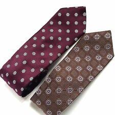 Men's Store at Bloomingdales set of 2 silk ties purple brown floral polka dot