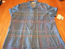 Koret City  Woman's button down short-sleeved denim blouse w embroidery sz L NWT