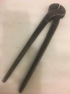 Antique 13'' M.W.Robinson.Co horse hoof nippers,black smith pliers thong usa
