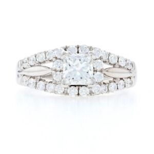 White Gold & Platinum Diamond Halo Engagement Ring 18k 950 Princess 2.01ctw IGI