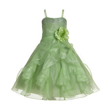 Wedding Organza Pleated Ruffled Flower Girl Dress Communion Party Pageant Dress